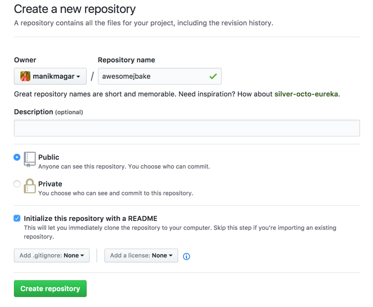 jbake with continuous deployment to github create repo